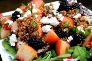 Peach Blackberry Arugula Salad with Bulgur Wheat and Goat Cheese