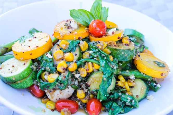 Quinoa with Yellow Squash, Roasted Chicken, Spinach, Corn and Tomatoes