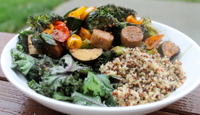Italian Balsamic Stir Fry with Chicken Sausage and Kale