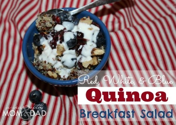 Red, White, and Blue Quinoa Breakfast Salad from A Year with Mom and Dad