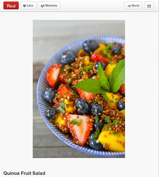 To add some texture to a fresh, summer fruit salad, try adding quinoa! This Pinterest favorite includes mango, blueberries, and strawberries, and features red quinoa with a honey dressing.